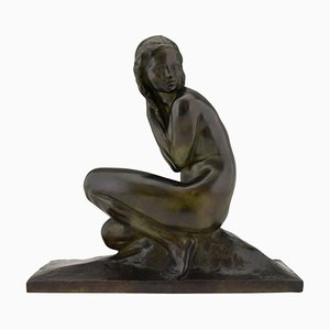 Art Deco Bronze Sculpture of a Seated Nude by Jean Ortis, 1930s