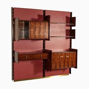 Mueble de palisandro, latón y cuero sintético de La Permanente Mobili Cantù, años 50