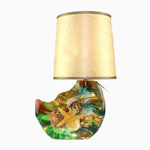 Lámpara de mesa de acrílico y pergamino, años 50