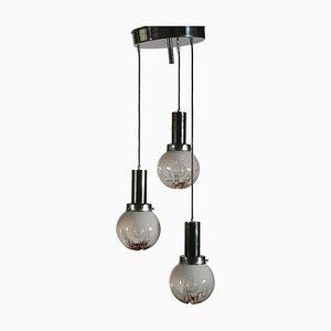 Italienische Vintage Deckenlampe aus Glas & Metall