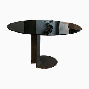Tavolo da pranzo TI59 vintage in bronzo e vetro di Tobia & Afra Scarpa per Poggi, anni '70