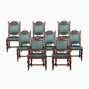 Antique Carved Walnut Dining Chairs, Set of 8