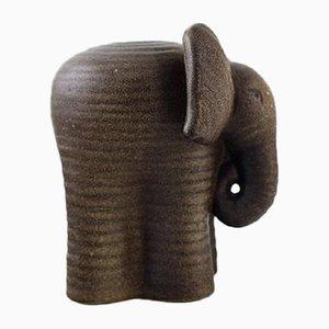 Glasierter Elefant aus Steingut von Lisa Larson für Gustavsberg, 1970er