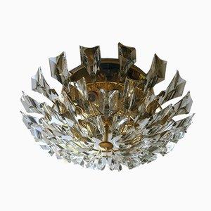 Italienische Einbaulampe aus vergoldetem Messing & Kristallglas von Stilkronen, 1970er