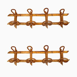 Italian Wicker Coat Racks, 1950s, Set of 2