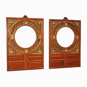 Paneles chinos decorativos de madera dorada, años 50. Juego de 2