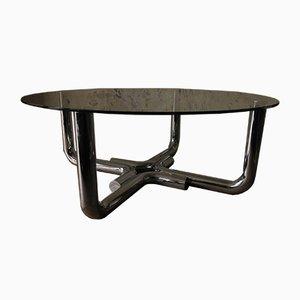 Tavolino da caffè in acciaio tubolare e vetro, anni '60