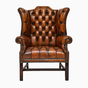 Vintage Leather Wingback Armchair, 1920s