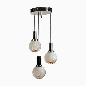 Lámpara de techo italiana vintage de metal y vidrio
