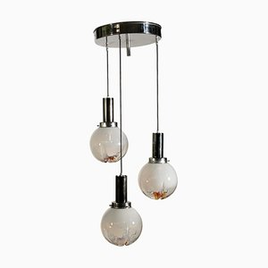 Vintage Italian Metal and Glass Ceiling Lamp