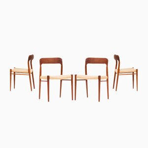 Modell 75 Esszimmerstühle von Niels O. Moller für JL Moller, 1960er, 4er Set