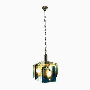 Lampe à Suspension Vintage en Verre Bleu et Métal Chromé, 1960s