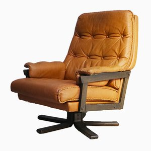 Danish Tan Leather Swivel Lounge Chair, 1960s