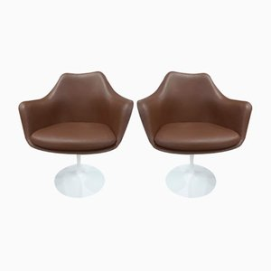 Chaises Pivotantes en Cuir par Eero Saarinen pour Knoll Inc. / Knoll International, 1969, Set de 2