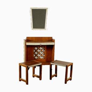 Juego de mesa consola vintage de chapa de roble, espejo y taburetes, años 40. Juego de 4