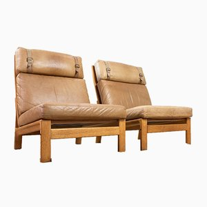 Tan Leather and Oak Lounge Chairs by Arne Wahl Iversen for Komfort, 1960s, Set of 2