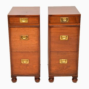 Antique Mahogany Military Campaign Nightstands, Set of 2