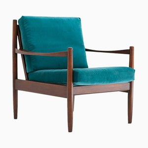 Swedish Blue Velvet Armchair, 1950s