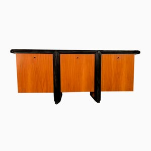 Veneer Walnut and Lacquered Metal Sideboard from Acerbis, 1980s