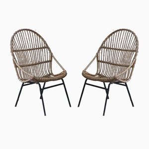 Rattan Armchairs by Alan Fuchs for Uluv, 1960s, Set of 2