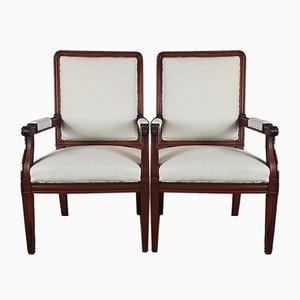 Antike Armlehnstühle aus rotem geschnitztem Nussholz, 2er Set