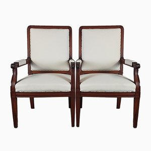 Antique Carved Red Walnut Armchairs, Set of 2