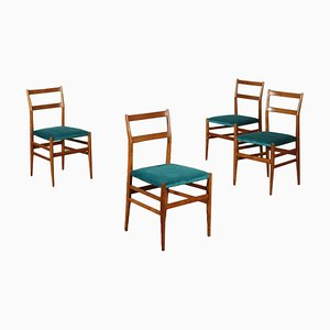 Ash and Velvet Side Chairs by Gio Ponti for Cassina, 1960s, Set of 4