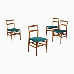 Beistellstühle mit Gestell aus Eschenholz & Samtbezug von Gio Ponti für Cassina, 1960er, 4er Set