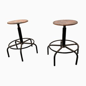 Dutch Industrial Stools, 1950s, Set of 2