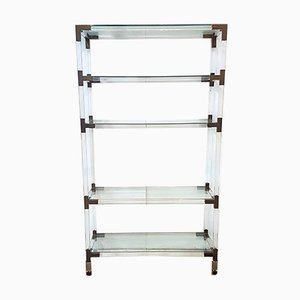 Hollywood Regency Lucite, Brass, and Glass Shelf, 1970s