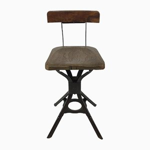 Steel and Mahogany Stool from Evertaut, 1930s