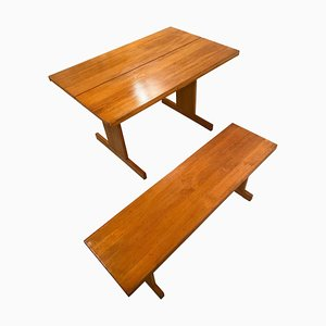 Pine Dining Table and Bench Set by Ilmari Tapiovaara for Laukaan Puu, 1970s