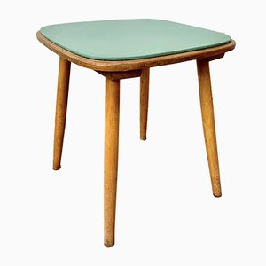 Mid-Century Wooden and Vinyl Stool