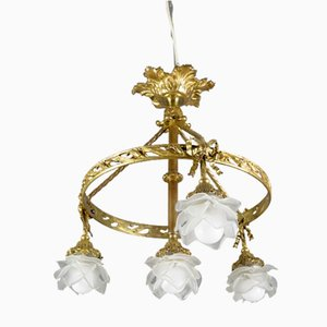 Bronze and Frosted Glass Four-Light Chandelier, 1920s