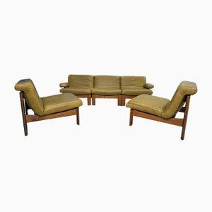 Dutch Oak Leather 5-Piece Modular Living Room Set, 1960s