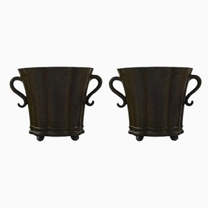 Art Deco Metal Vases by Just Andersen, 1940s, Set of 3