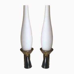 Wandlampen aus Opalglas von Angelo Lelli für Arredoluce, 1950er, 2er Set