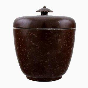 Vaso Art Deco in ceramica smaltata con coperchio di Wilhelm Kåge