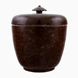 Vintage Art Deco Glazed Ceramic Jar with Lid by Wilhelm Kåge