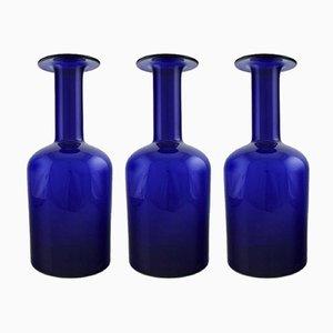 Vases en Verre Bleu par Otto Brauer pour Holmegaard, 1960s, Set de 3