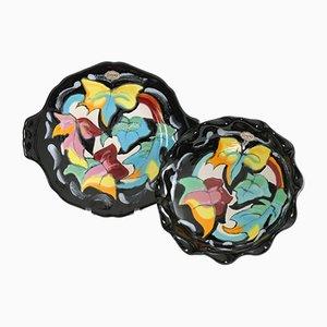 Mid-Century Teller & Schale aus Keramik von Longwy, 2er Set