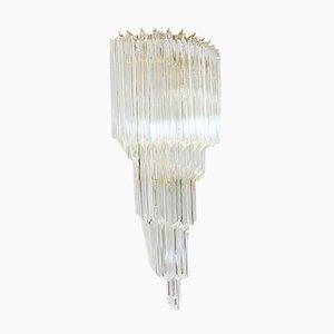 Kronleuchter mit Rahmen aus vergoldetem Messing & Behang aus Kristallglas von Paolo Venini für Camer, 1960er