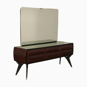 Mid-Century Dutch Rosewood Veneer and Glass Dresser