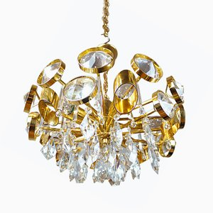 Brass & Crystal Chandelier from Palwa, 1960s