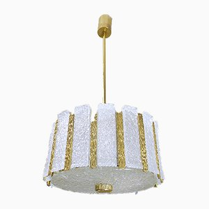 Austrian Brass & Frosted Glass Chandelier from Kalmar, 1960s