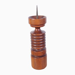 Turned Oak Candleholder by Hepnar Antonin, 1970s