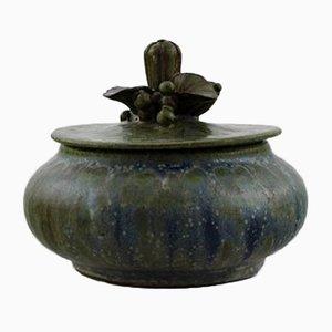 Glasierte Keramikdose mit Deckel von Arne Bang, 1930er