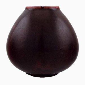 Vase en Céramique Émaillée Rouge Sombre par Carl Halier pour Royal Copenhagen, 1934