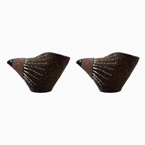 Figuras de pájaros de cerámica de Thomas Nittsjo, años 60. Juego de 2