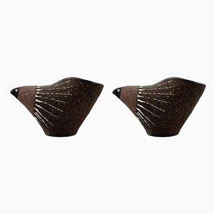 Statuette di uccelli in ceramica di Thomas Nittsjo, anni '60, set di 2